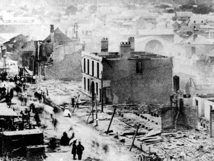 1 December 1864 a boy knocked a kerosene lamp off a shelf in the cellar of a drapery store at the intersection of Queen and Albert Streets,Brisbane.The aftermath an entire block was destroyed inxluding 50 homes,2 banks and 3 hotels.