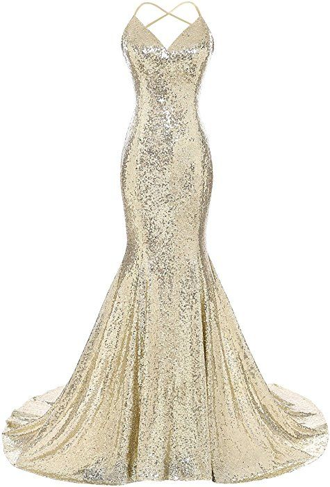 Amazon.com: DYS Women's Sequins Mermaid Prom Dress Spaghetti Straps V Neck Backless Gowns Gold US 4: Clothing
