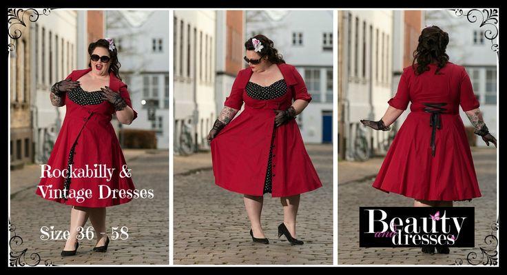 Rockabilly kjoler i store størrelser og helt op i plus size størrelse 58 ✔ Flotte Rockabilly kjoler i anderledes design og feminin stil ✔ Fri fragt ved køb over 400 kr.  Chic Star dress design by Amber Middaugh