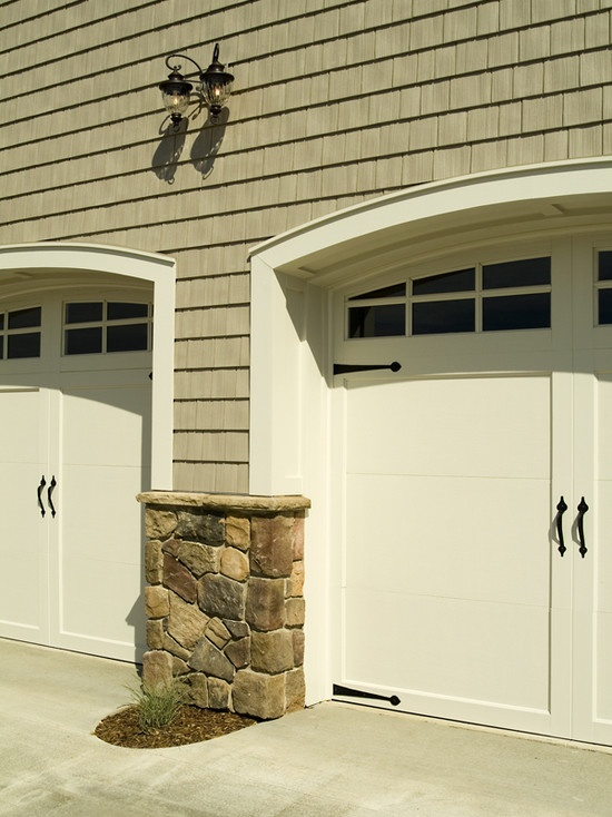 traditional garage doors with molding trim