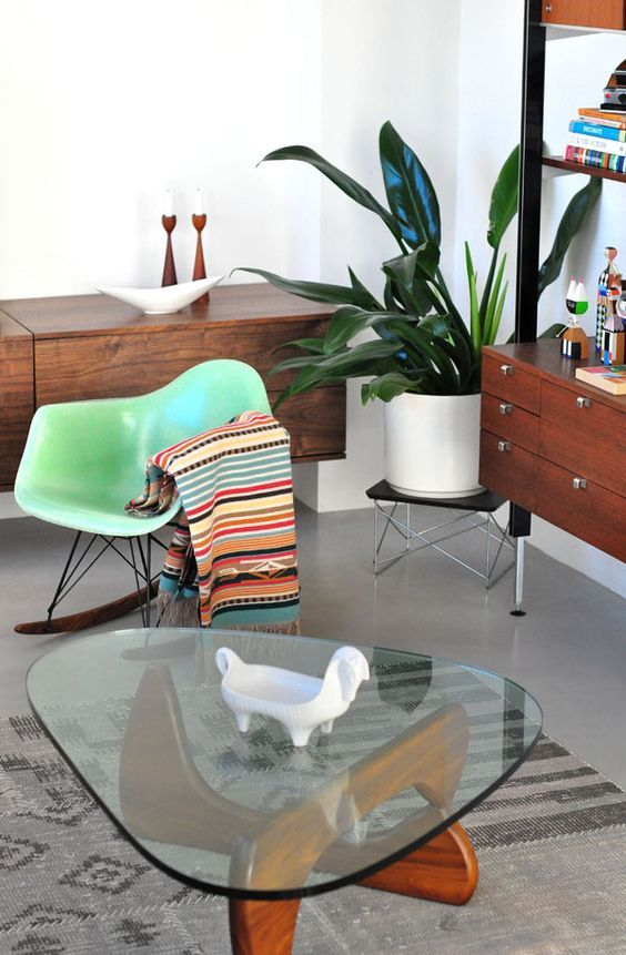 rocking chair, Noguchi table, green plant, wood furniture, comfy home design :)