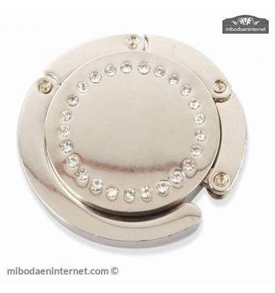 #Cuelgabolsos #boda metálico forma circular con strass brillantes alrededor. Incluye caja presentación