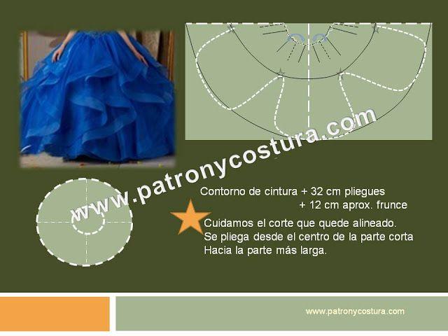 falda de capa larga con pliegues y frunce