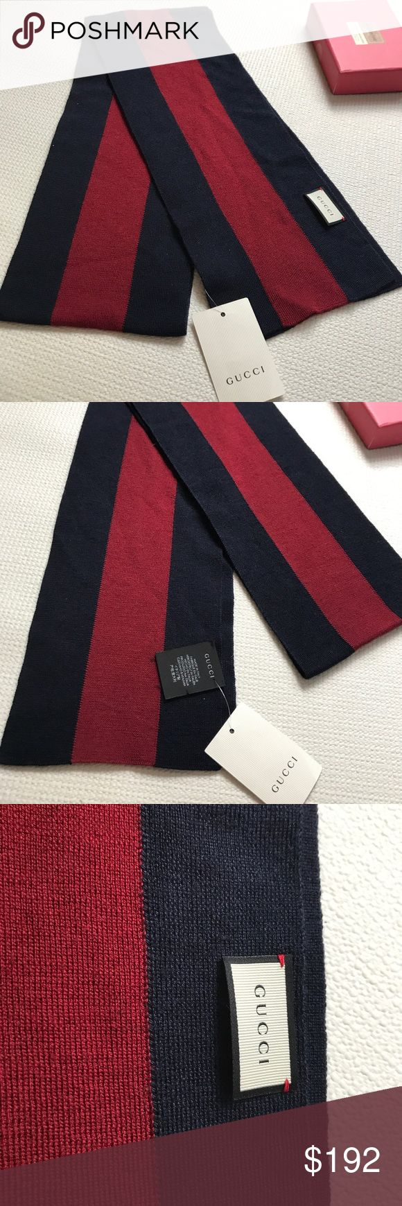 "❤️Authentic Gucci Blue Wool Silk Knit Web Scarf Say Hello to the winter !‼️.  Create your own style with your favorite sweater!!💙.   Fashionable & Authentic Gucci men's navy blue Wool Silk Knit Web Scarf-- Blue &  Red Wool Silk Knit. W16cm x L180cm.                                                                     --Fine knit Web scarf--  Blue and red wool silk knit 6.5""W x 59""L 70% wool and 30% silk SORRY NO TRADES 🚫.   NOTE: Model  showing the size and the look to style but not the…"
