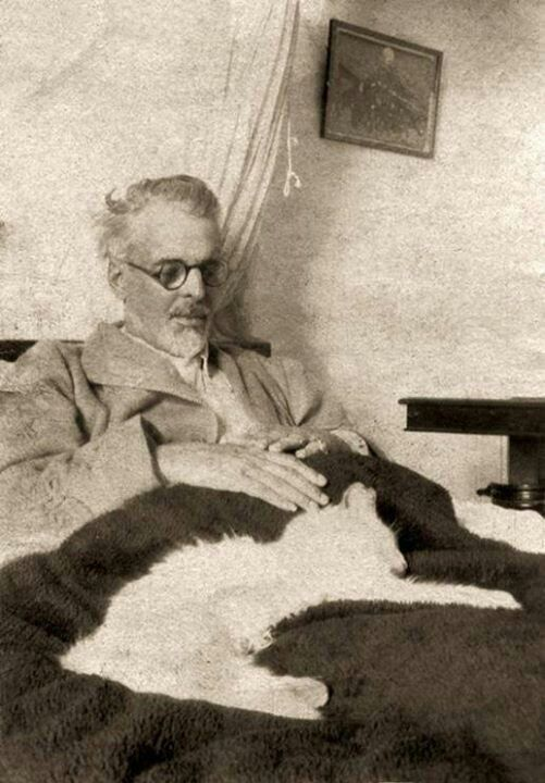 Poet, Magickian and Celtic Communist William Butler Yeats spent most of his time in his shamanic bed with his familiar. Where he led, We follow.