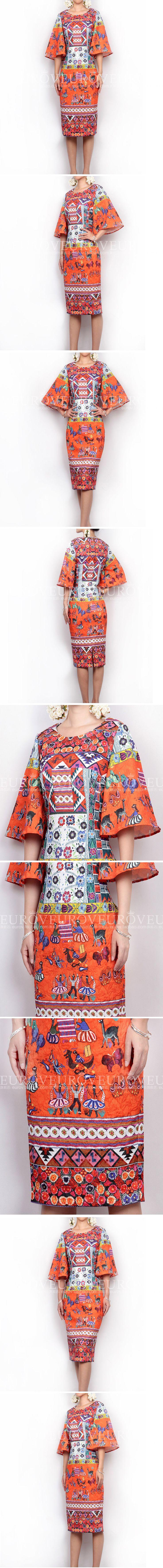 Потрясающие! Новый 2016 весна лето старинные мода цветочные геометрические узоры печать женщины оболочка вспышки рукав платья купить на AliExpress