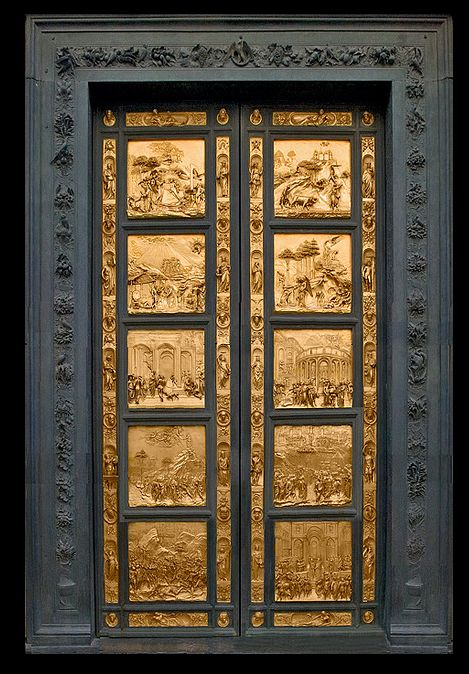 Gates of Paradise The sculptor Lorenzo Ghiberti worked for 27 years to finish the East doors of the baptistery. They depict famous scenes from the Old Testament. Ghiberti employed the recently discovered principles of perspective to give depth to his compositions which today - 500 years later - are among the most heralded pieces of art in Florence.