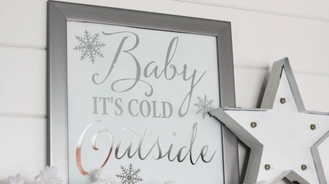 DIY Mirror Art and Winter White Mantel