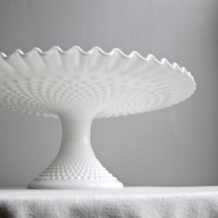 Hobnail Milk Glass Wedding Cake Stand by Fenton Pedestal Cake Plate. $98.00, via Etsy.