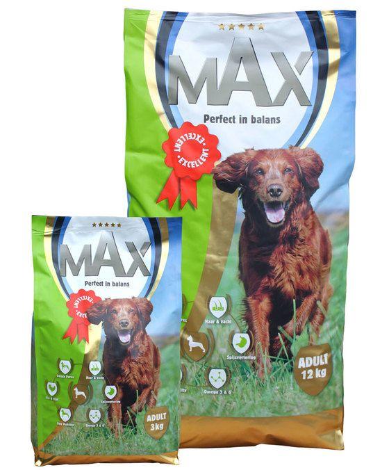 Max Volwassen Hond Voeding  Volledig uitgebalanceerde 5 sterren-voeding voor volwassen honden. Max voor Maximale voeding en is de perfecte start voor een volwassen hond! Max Adult is een Super Premium Plus voeding in brokvorm en bevat hoogwaardige ingrediënten. Door het toevoegen van de voedingssupplementen Dog Mobility en Doggy Parex is Max Adult de meest complete voeding voor de volwassen hond. Dog Mobility zorgt ervoor dat de mobiliteit en het beendergestel maximaal worden ondersteund…