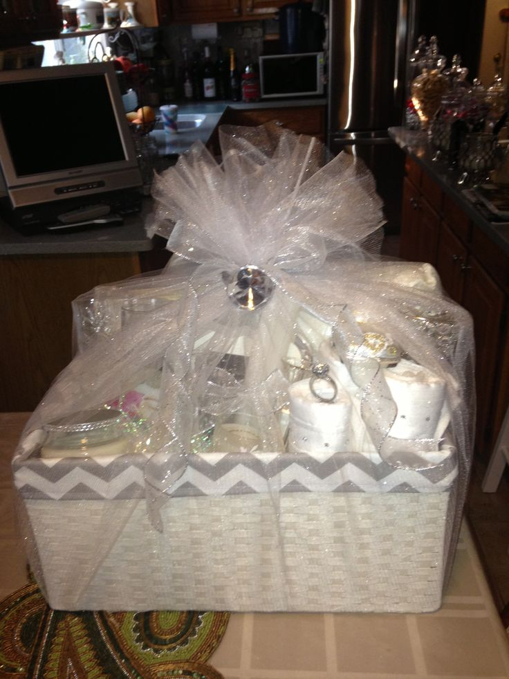 102 best images about bridal shower gift ideas on for Bathroom basket ideas for wedding