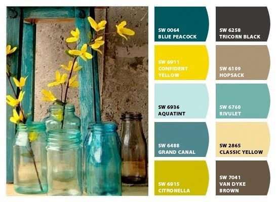yellow brown teal color palette - Google Search
