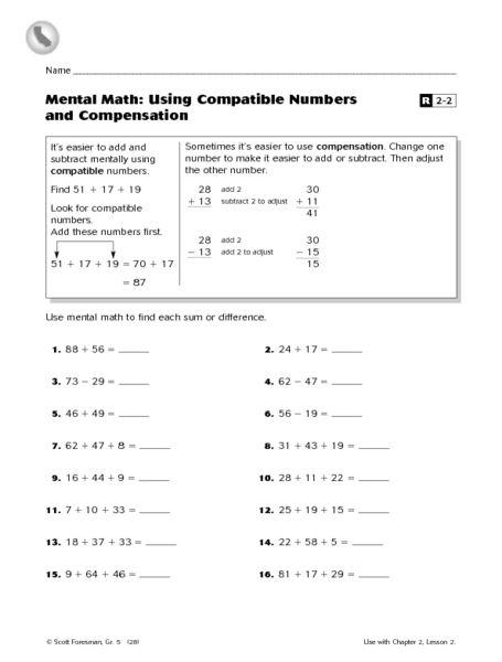 mental math using compatible numbers and compensation worksheet lesson planet back to. Black Bedroom Furniture Sets. Home Design Ideas