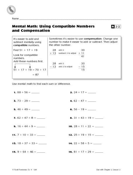 mental math using compatible numbers and compensation worksheet lesson planet math ideas. Black Bedroom Furniture Sets. Home Design Ideas