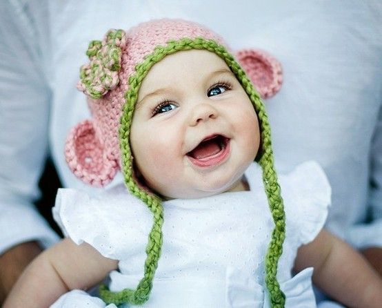 *GASP* CutenessoveroverOVERLOAD!: Little Girls, Organic Cotton, Monkeys, Crochet Baby Hats, Baby Girls, Kids, Organic Baby, Baby Photos,  Poke Bonnets