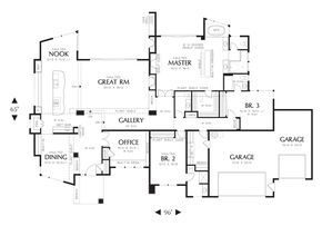 House Plan 1327 -The Mercer -- 3 bedroom, 3.5 baths, 3 car garage, 3296 sqft, open living dining, kitchen, huge kitchen, formal and casual dining, office, powder room.