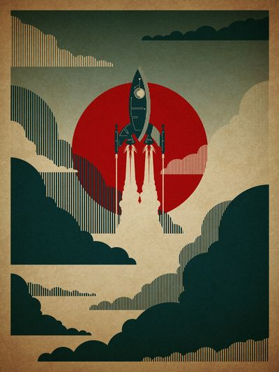The Voyage, by Danny Haas.: Prints Posters, Danny Haa, Boys Rooms, Retro Posters, Posters Design, Art Prints, Dannyhaa, Red Green, Rockets Ships