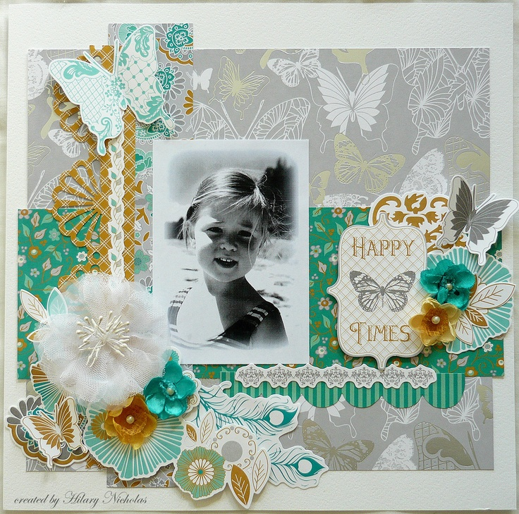 """""""Happy Times"""" - layout created with Kaisercraft's Elegance collection, by Hilary Nicholas"""