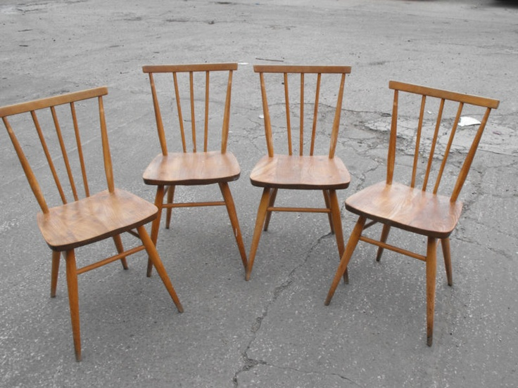 4 Retro Ercol Dining Kitchen Chairs Light Wood Blonde 1960