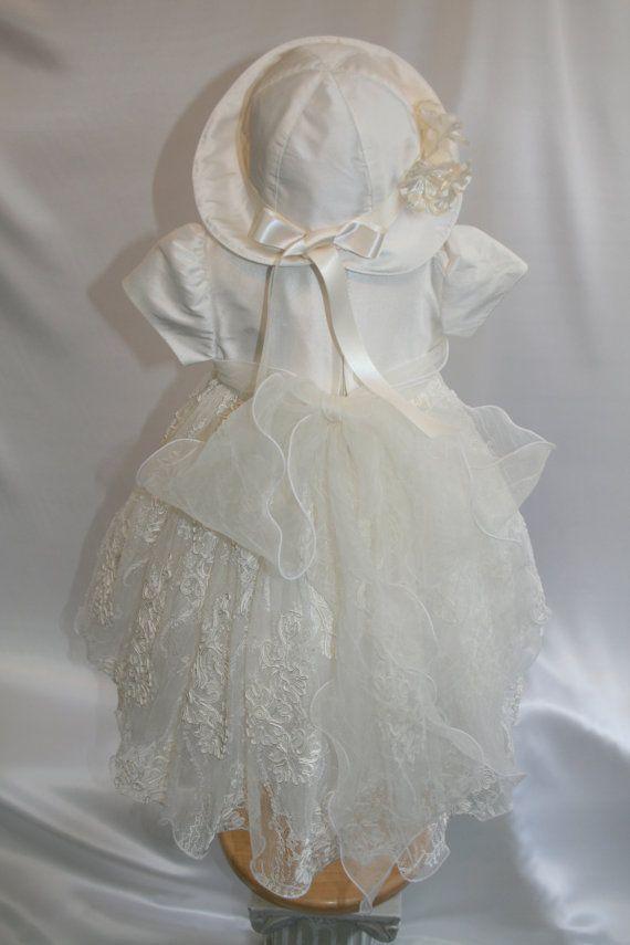 2pc Vaftiz elbise Zazoubaby ile% 100 Dupioni ipek ile yapılan