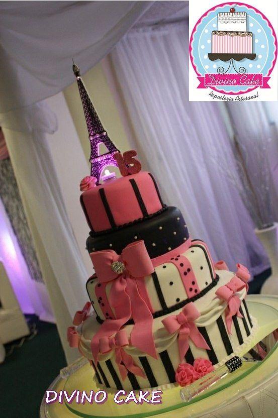 paris themed fondant cake   Tortas De Boda, 15 Años, Bautizo, Comunión..mm13
