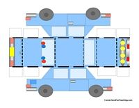 Police Car Craft: Cut out this police car and glue the flaps together for a 3D Police Car. Information: Police Car, Craft Activity