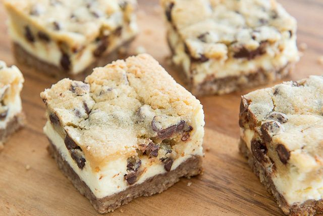 These Chocolate Chip Cookie Dough Cheesecake Bars combine multiple desserts into one bite! You have a crumbly pecan crust on the bottom, creamy cheesecake in the middle, and chocolate chip cookie dough on top.