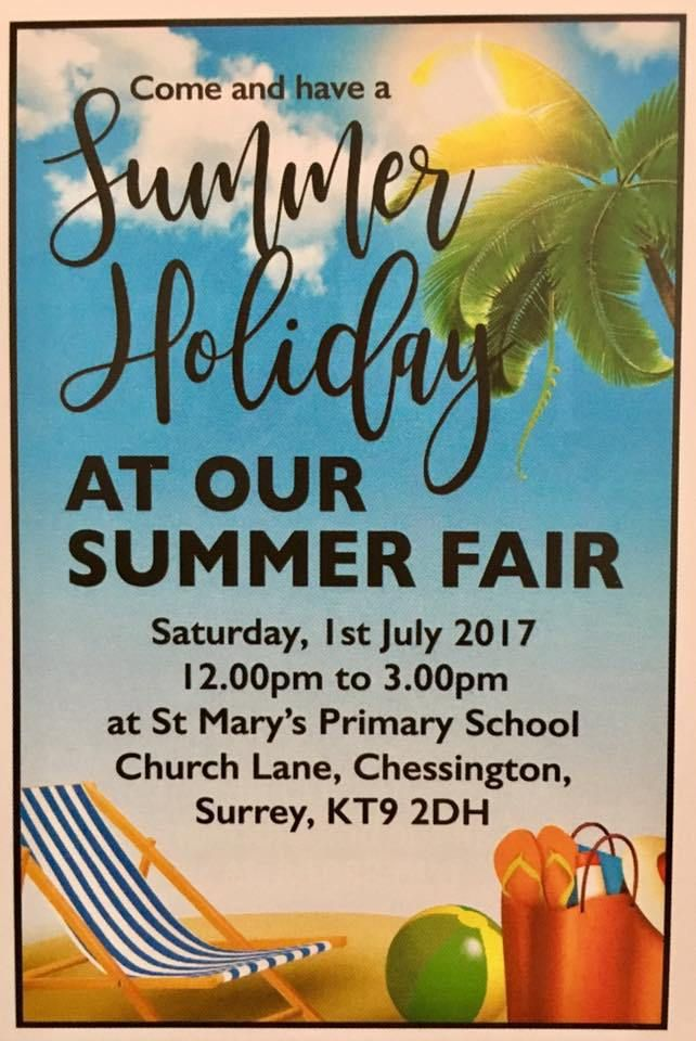 Summer Fair at St Marys Primary School Chessington 1st July at midday in #Chessington