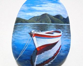 Painted stone landscapes with two fishing boats by RockArtAttack