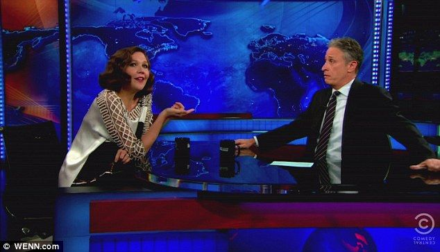 Back at work: Maggie appeared on Comedy Central's The Daily Show With Jon Stewart to promote her new film, Hysteria