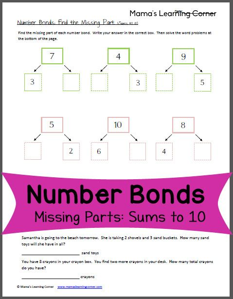 Number Bonds Worksheet: Missing Parts with sums up to 10
