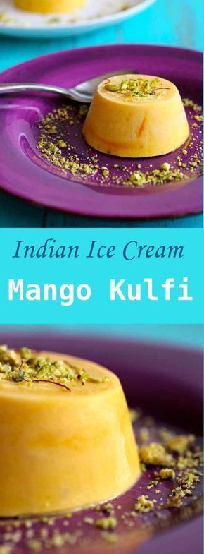 Mango kulfi is the traditional rich frozen dessert from India, garnished with pistachios and cardamom.