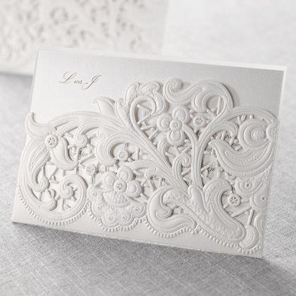 Wedding Invitations - Silver | Laser Cut Floral Pocket | B Wedding Invitations