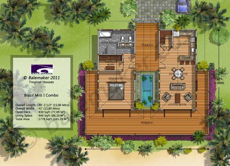 Option 2 With Twin Bedrooms Such As For A Resort Duplex Style Villa Tropical Small House Architecture