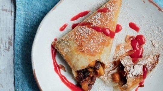 No-bake apple, raisin and amaretto strudel with raspberry sauce