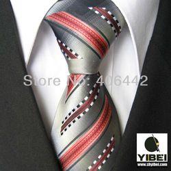 YIBEI Coachella Men's ties Bordered Grey With Coral Black White Stripes Necktie fashion Ties for men dress shirts Wedding 8.5CM(China (Mainl...
