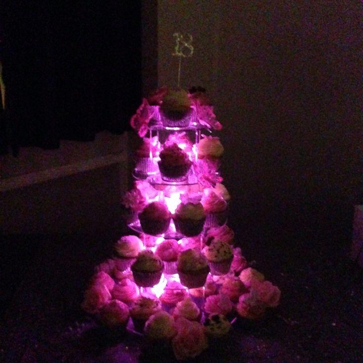 My cupcake tower at night