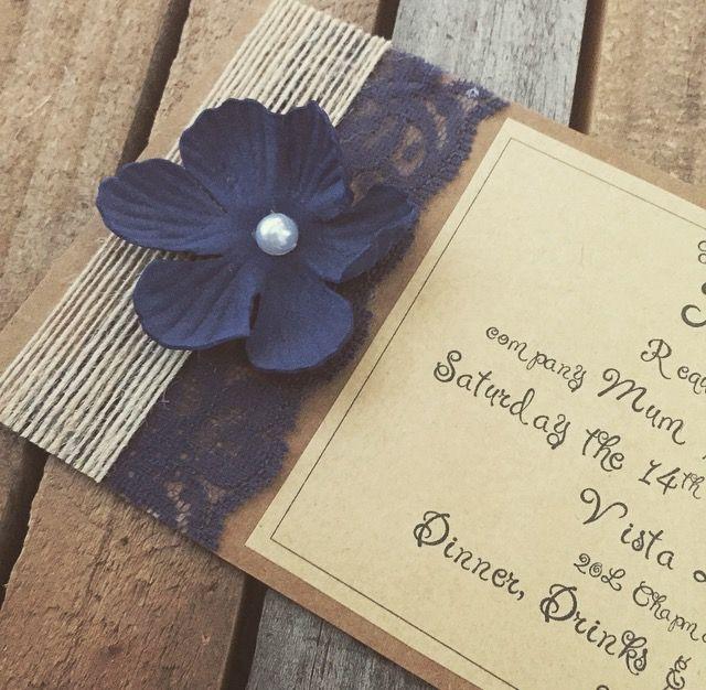 Navy Blue rustic wedding invitations DL size