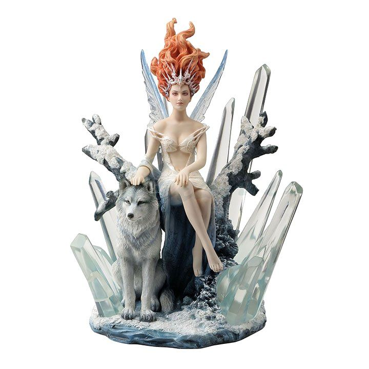 Crystal Fairy With Wolf Statue By Melanie Dillon Fairy Statues Fairy Figurines Animal Sculptures