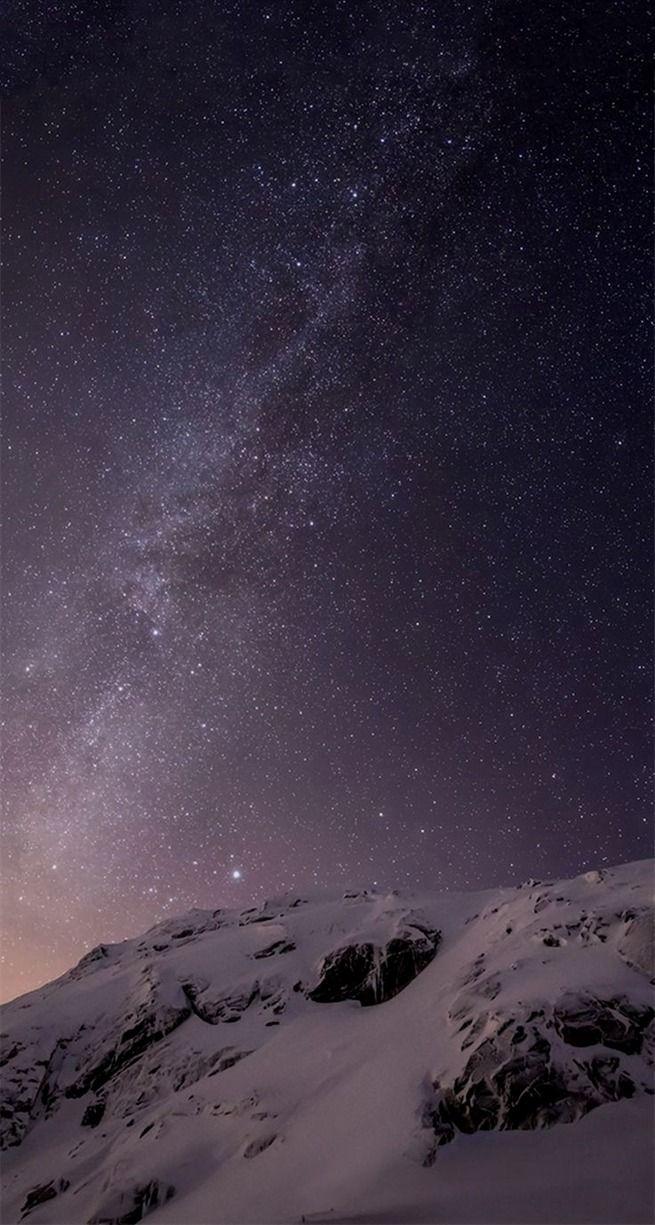 iOS 21 Milky Way Over Mountain Parallax Default iPhone 21 Wallpaper ...