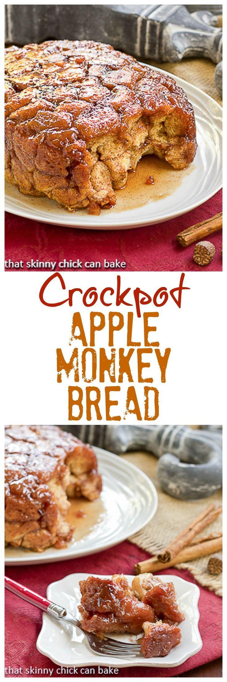Apple Monkey Bread | Super easy, irresistible breakfast made in the crockpot @lizzydo