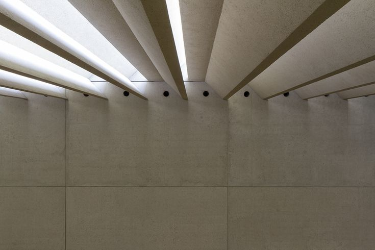 The precast concrete blades of the skylight in the Watermall, Queensland Art Gallery