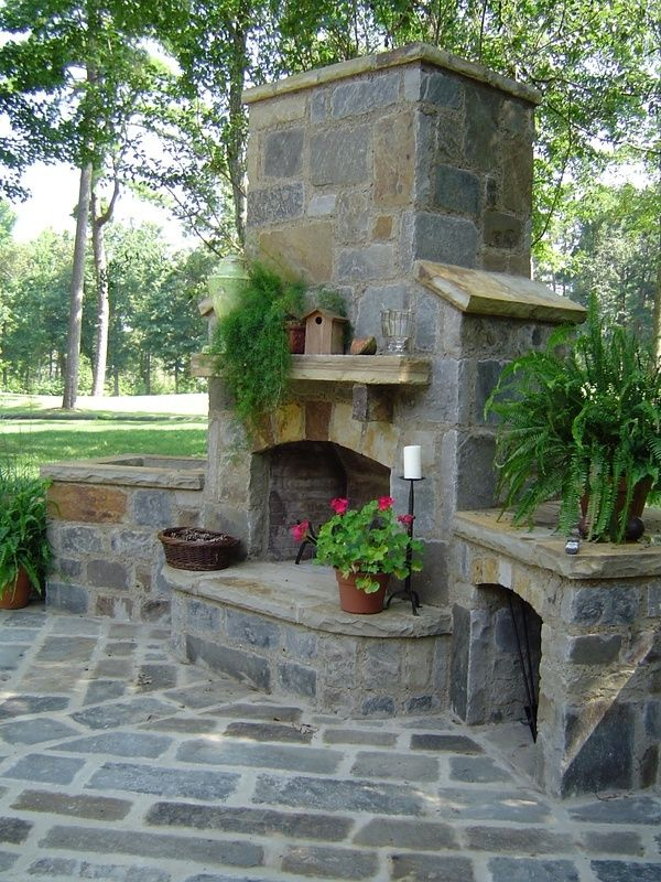 Outdoor fireplace and seating.