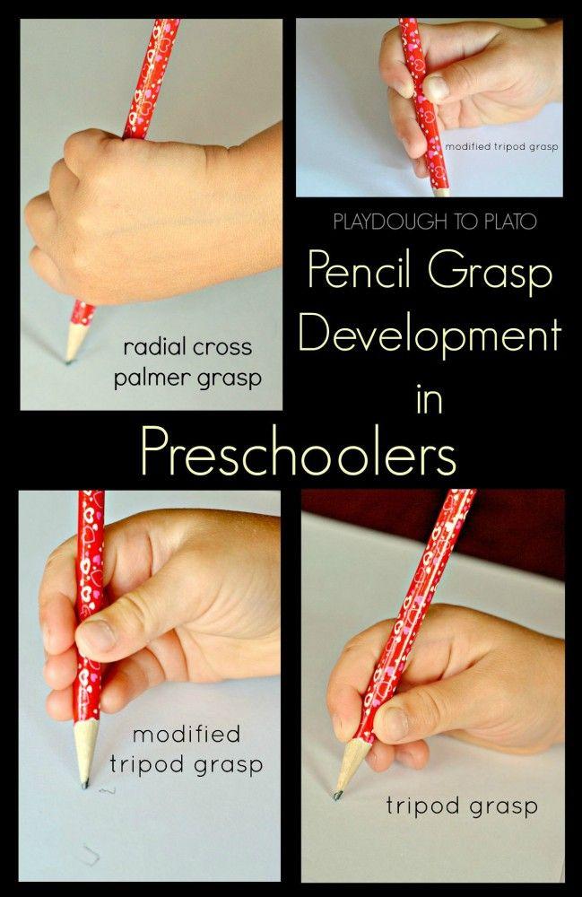pencil grasp development in preschoolers - Playdough to Plato.