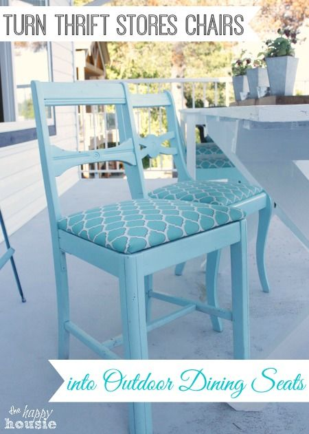 How to Turn Thrift Store Finds into an Outdoor Dining Set w wicker end chairs - The Happy Housie