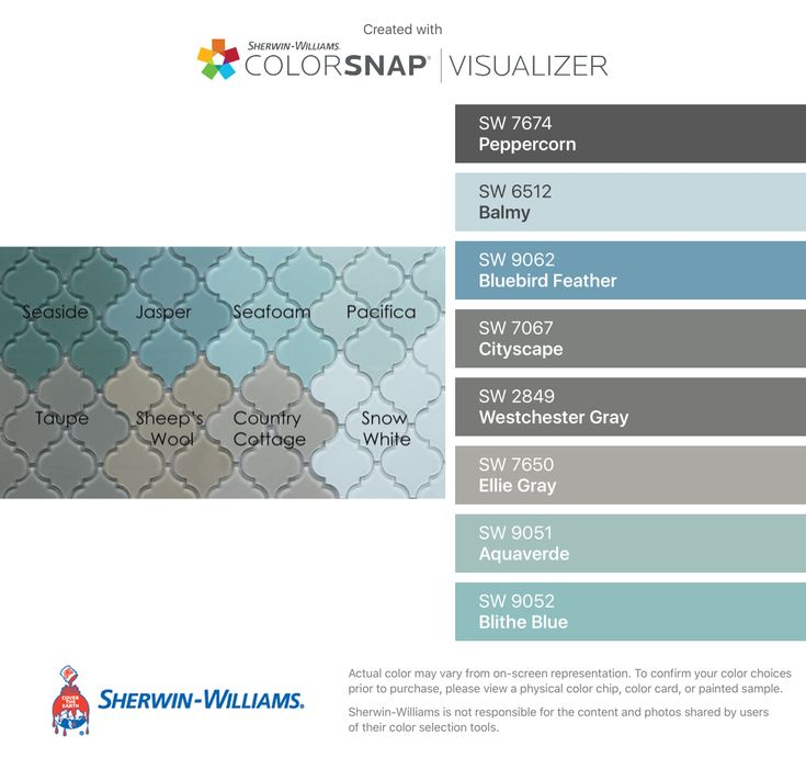 I found these colors with ColorSnap® Visualizer for iPhone by Sherwin-Williams: Peppercorn (SW 7674), Balmy (SW 6512), Bluebird Feather (SW 9062), Cityscape (SW 7067), Westchester Gray (SW 2849), Ellie Gray (SW 7650), Aquaverde (SW 9051), Blithe Blue (SW 9052).