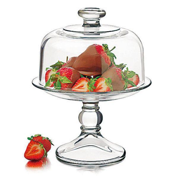 【ティータイム】ガラス製ミニケーキドームセット