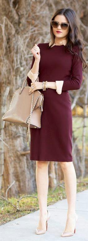 Women's fashion | Burgundy dress, neutral accessories
