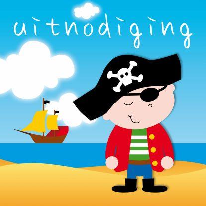 Een vrolijke uitnodiging voor een kinderfeestje. Kenmerken: jongen, jongens, piraat, piet, zee, boot, feest, verjaardag, jarig, strand, ooglap, stoer.  (Uitnodiging, kinderfeestje, piraat)