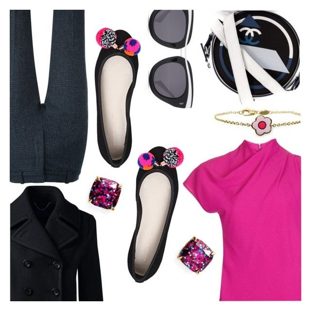 """Pink & Black & Tweed"" by stacey-lynne on Polyvore featuring Topshop, Victoria Beckham, Kate Spade, HOOK LDN, Sophia Webster, Chanel, Lands' End and Aaron Basha"